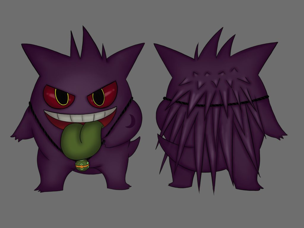 Full-colour drawings of Jinji the Gengar, front and back.